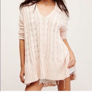 FREE PEOPLE | Easy Cable Knit V-Neck Sweater